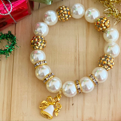 Christmas Bubblegum Bracelet - Gold and White Bell Charm