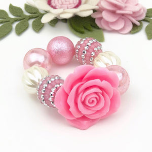 Bubblegum Bracelet - Pink Flower with pink/silver and cream
