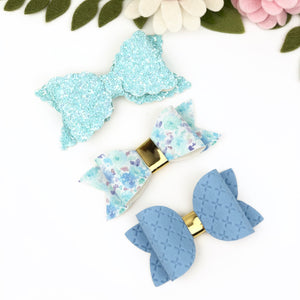 Ella, Taylor and Olivia Bow Set - Blue