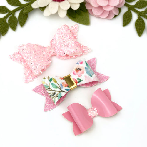 Ella, Taylor and Olivia Bow Set - Glitter Pink, Floral and Patent Pink
