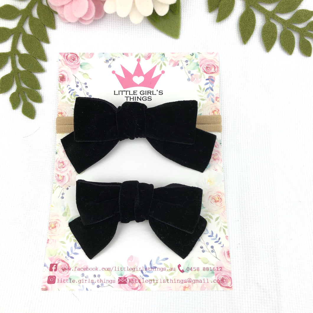 Ada Velvet Bow Large - Midnight