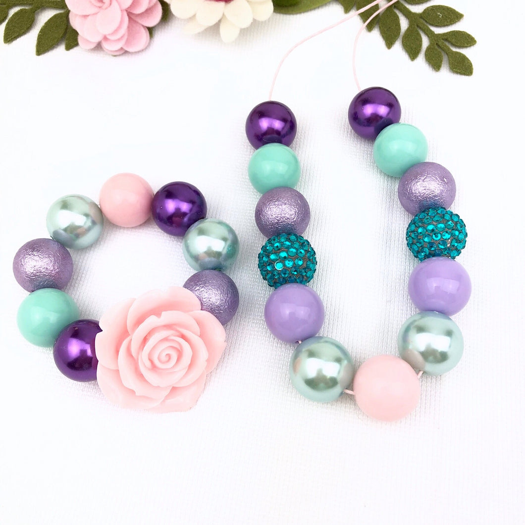 Bubblegum Necklace and Bracelet Set - Grape, Sage with a touch of Pink