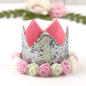 1st Birthday Crown with Flowers - Silver