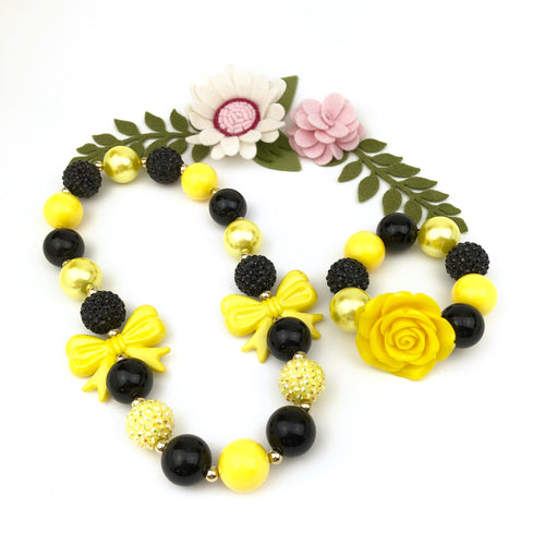 Bubblegum Necklace and Bracelet Set - Yellow Flower