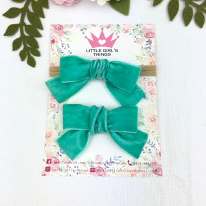 Ada Velvet Bow Large - Teal