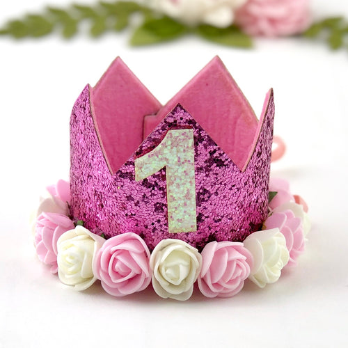 1st Birthday Crown with Flowers - Hot Pink
