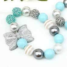 Bubblegum Necklace and Bracelet Set - Pale Blue and Silver