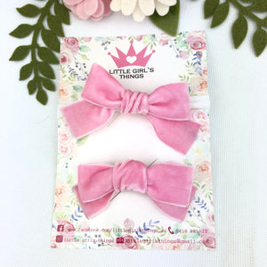 Ada Velvet Bow Large - Fairy Floss Pink