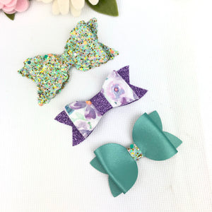 Bow Set Ella, Taylor and Olivia  - Lavender Floral, Sage and Confetti Glitter