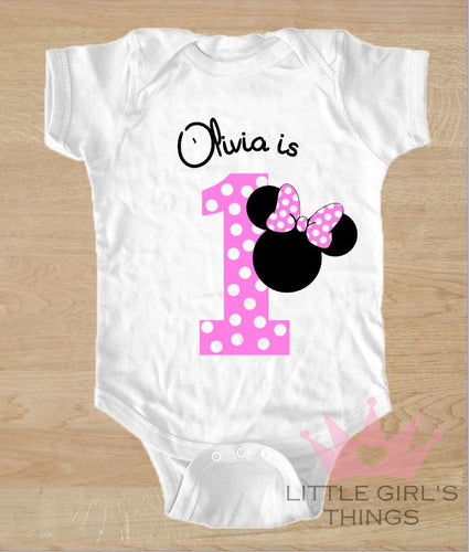 1st Birthday Onesie -  Personalized Pink with Dots
