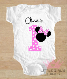 1st Birthday Onesie -  Personalised Pink with Dots