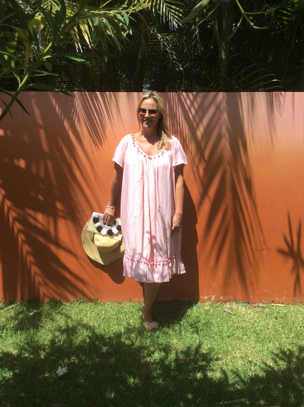 POM POM DRESS- light pink