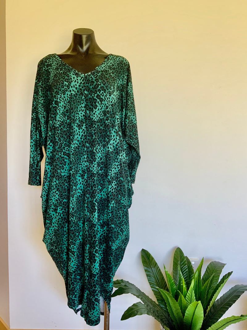 CALLIE DRESS - GREEN LEOPARD