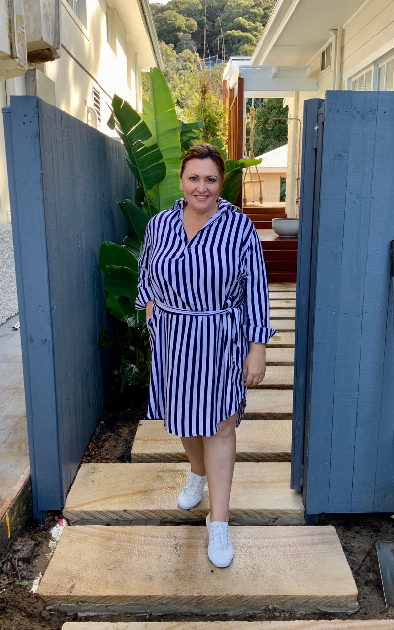 SHIRT DRESS - striped navy