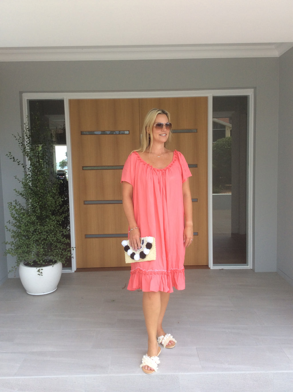 POM POM DRESS - Watermelon