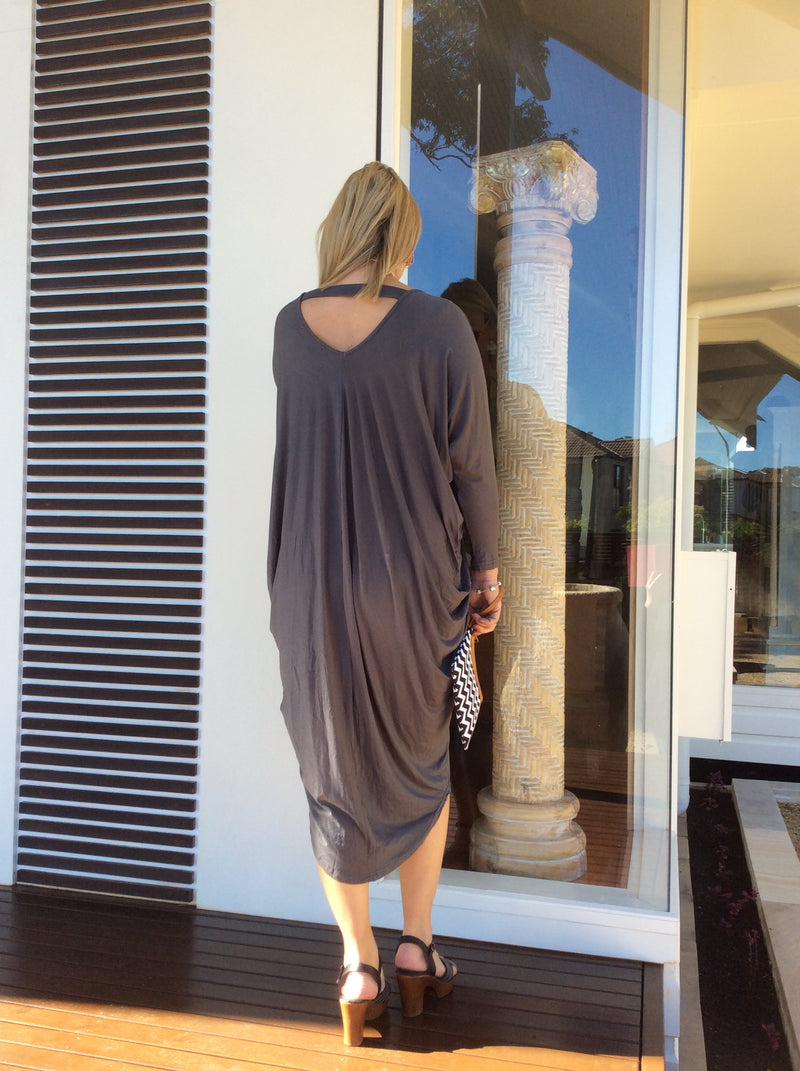 The Drape Dress - charcoal