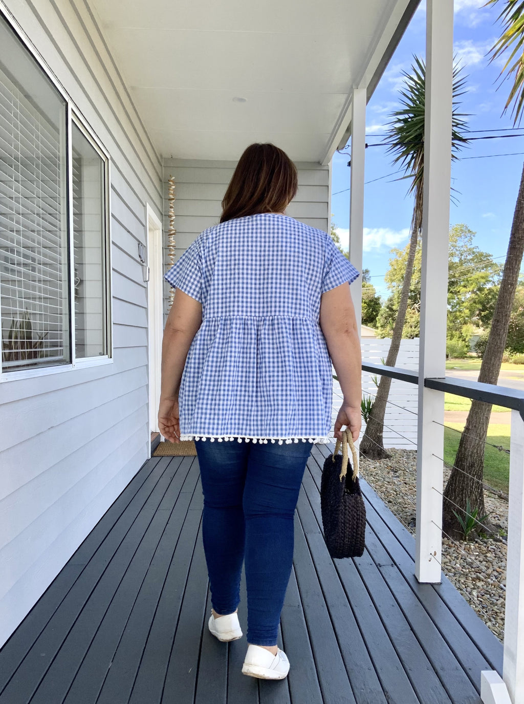 LUCY TOP - gingham in sky
