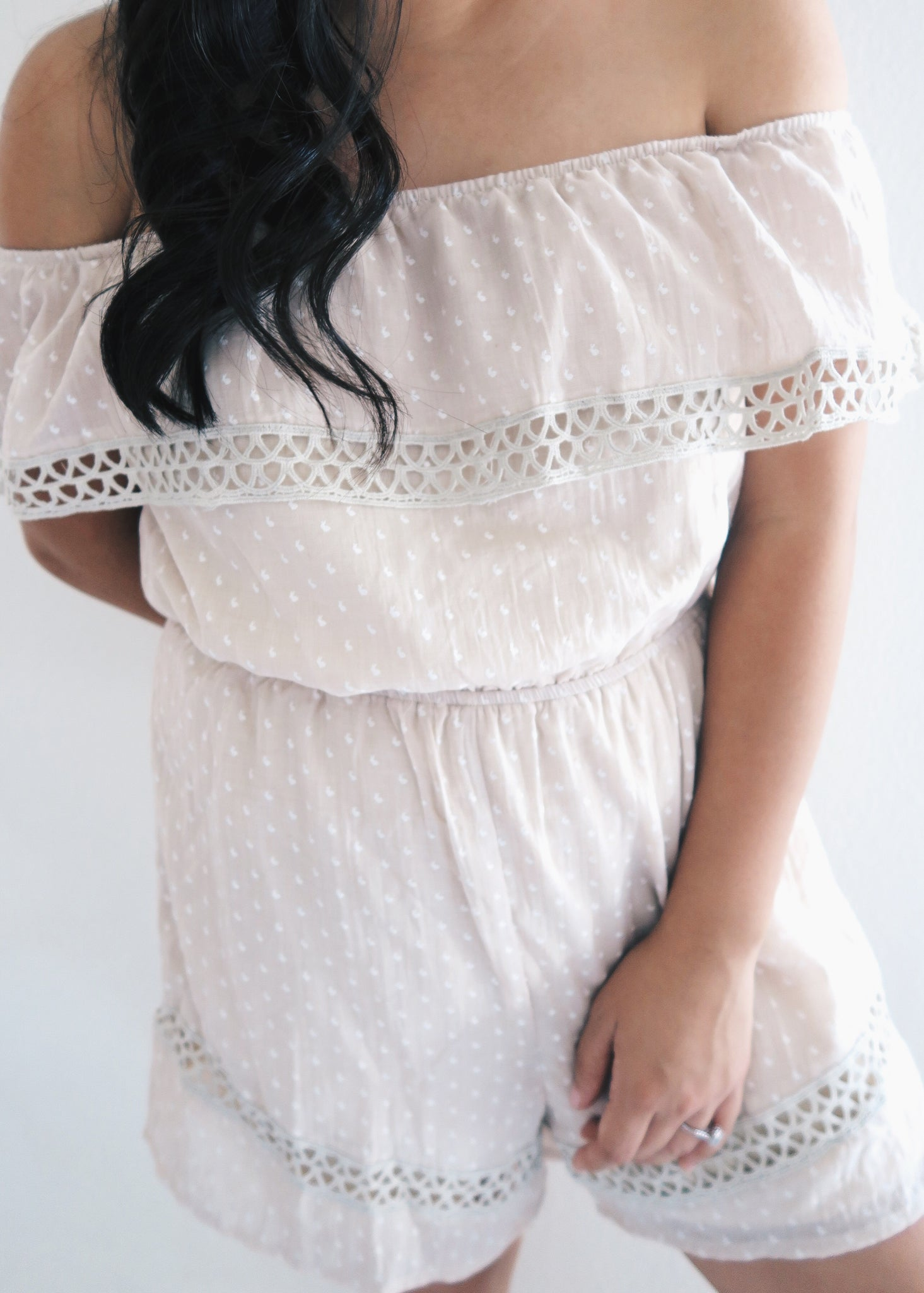 Cream Ivory Off the Shoulder Romper
