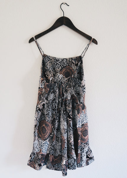 Black and Gray Lace Up Back Romper
