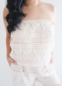SALE! - Oatmeal Crochet Tube Top Romper