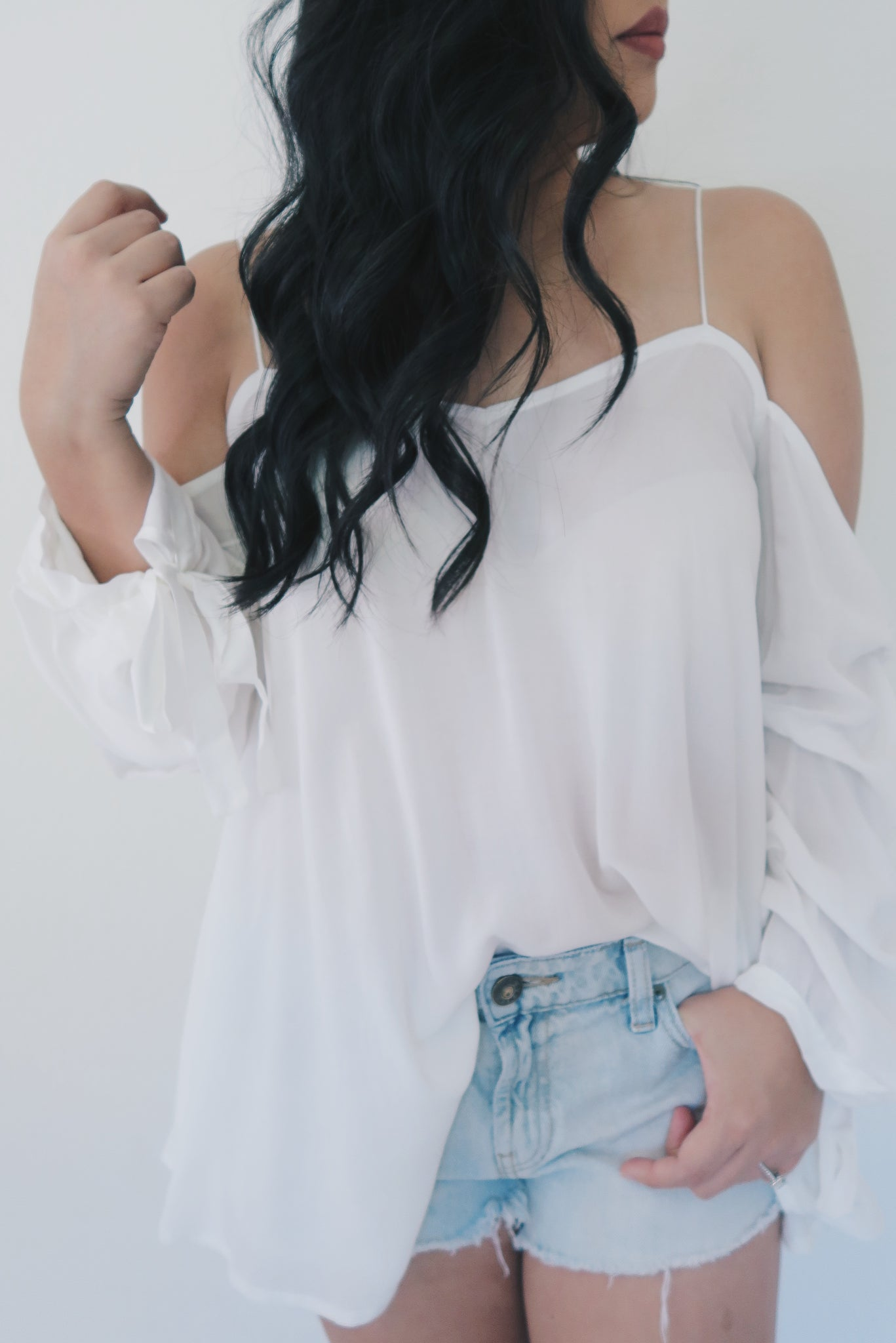 White Off The Shoulder Long Ruffle Sleeve Top