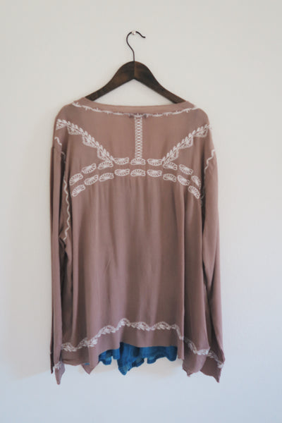 Taupe Ivory Embroidered Kimono/Cardigan Top