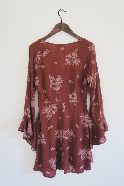 Rust and Cream Bell Sleeve Floral Print A-Line Dress
