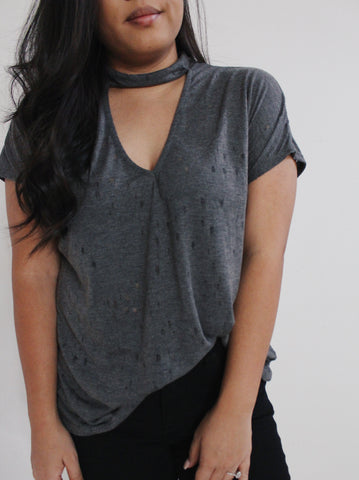 Charcoal Choker Cutout T-shirt Top