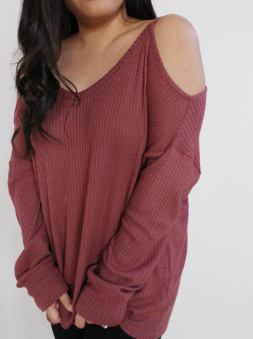 Red Brown Thermal Knit Cold Shoulder Top