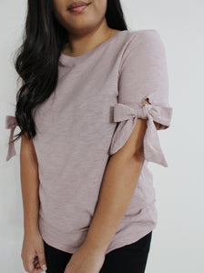 Mauve Short Sleeve Bow Top