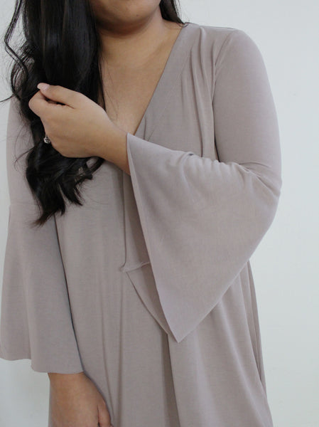 Taupe Shift Dress With Bell Sleeves