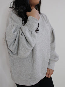 Light Grey Balloon Sleeve Sweatshirt