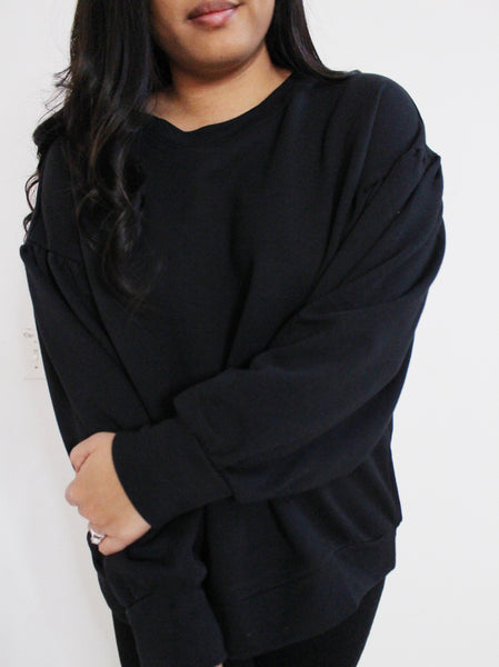 Black Balloon Sleeve Sweatshirt
