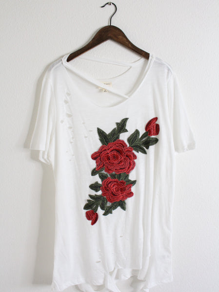 Distressed Ivory Boyfriend Fit Top With Red Rose Patch