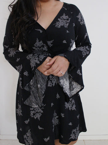 Black and Cream Bell Sleeve Floral Print A-Line Dress
