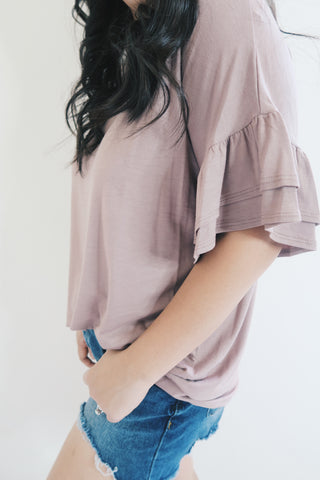 Mocha Ruffle Sleeve Top