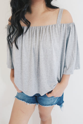 Grey Off The Shoulder Top