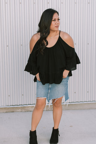 Long Cold Shoulder Black Ruffle Top