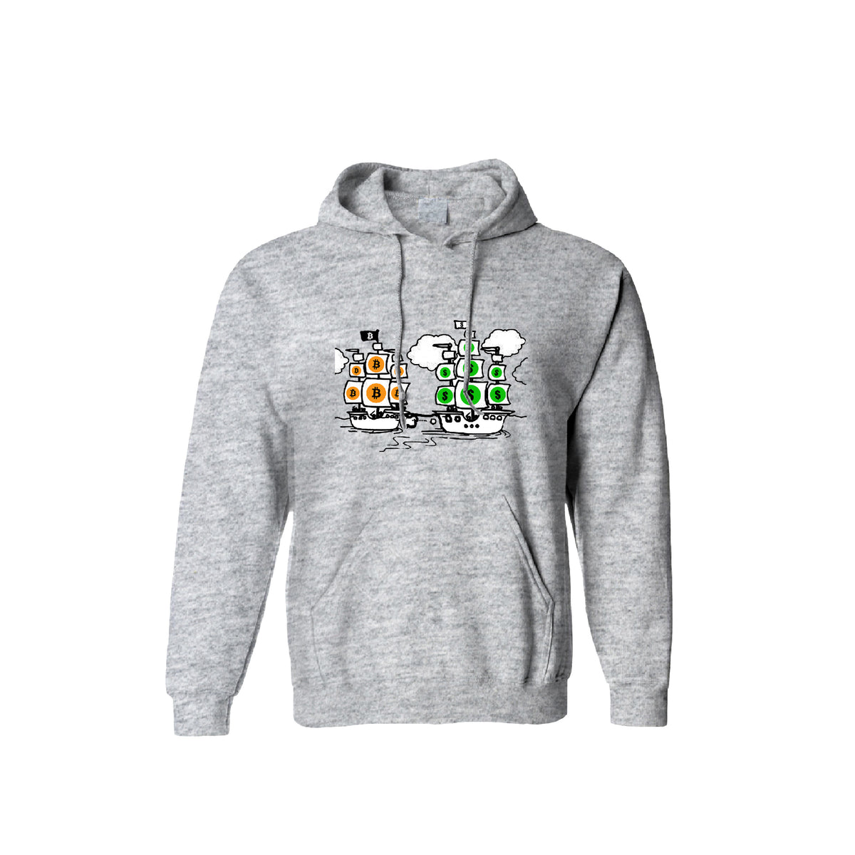 Bitcoin vs Money Pirate Ship Fight Unisex Hoodie - Pockets Moda Customise Hoodies and Tshirt