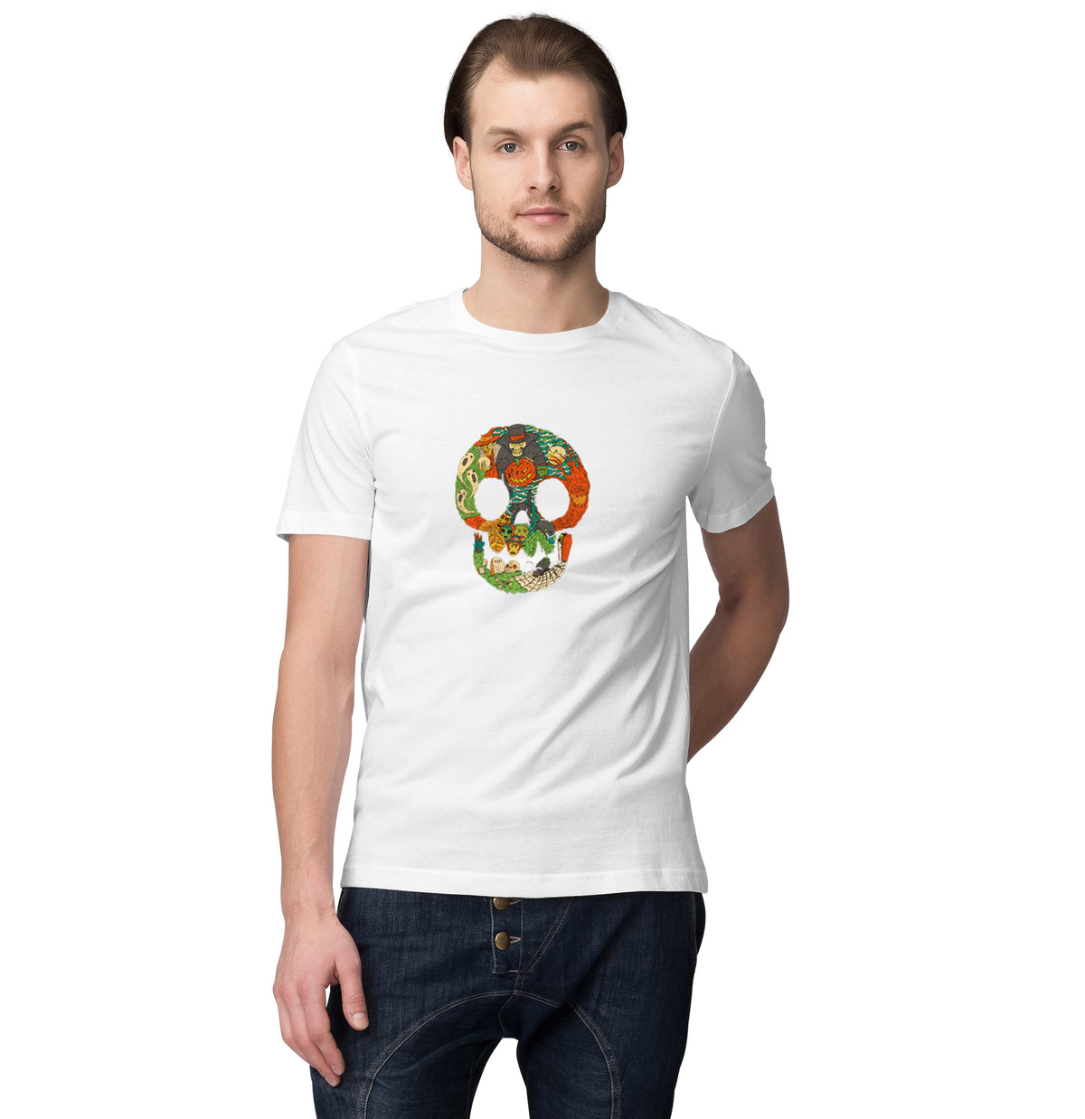 Halloween Special Mens Round Neck Half Sleeve T-Shirt - Pockets Moda Customise Hoodies and Tshirt