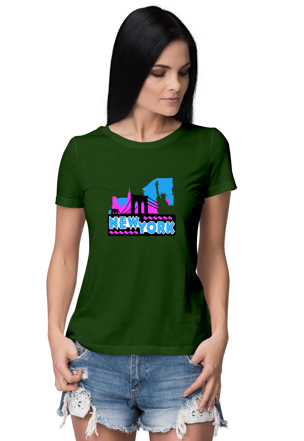New York Women's Round Neck Half Sleeve - Pockets Moda Customise Hoodies and Tshirt