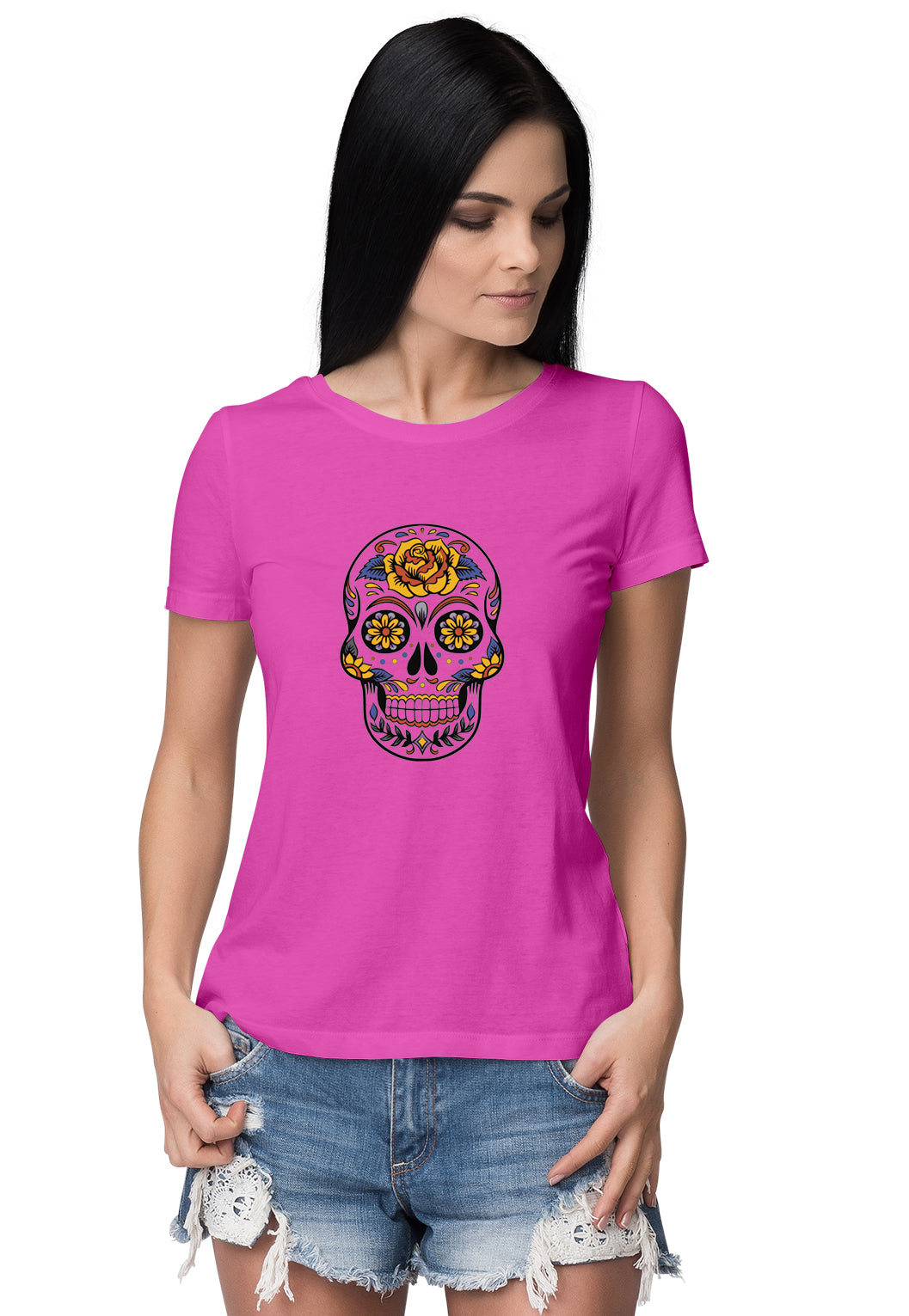 Skull 3 Women's Round Neck Half Sleeve - Pockets Moda Customise Hoodies and Tshirt