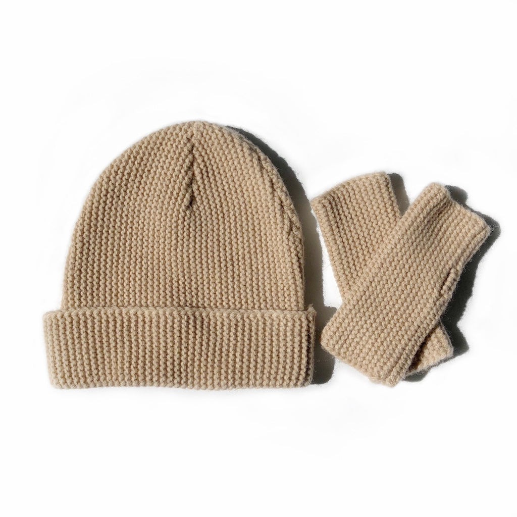 Wool Beanie and Fingerless Glove Set Sand