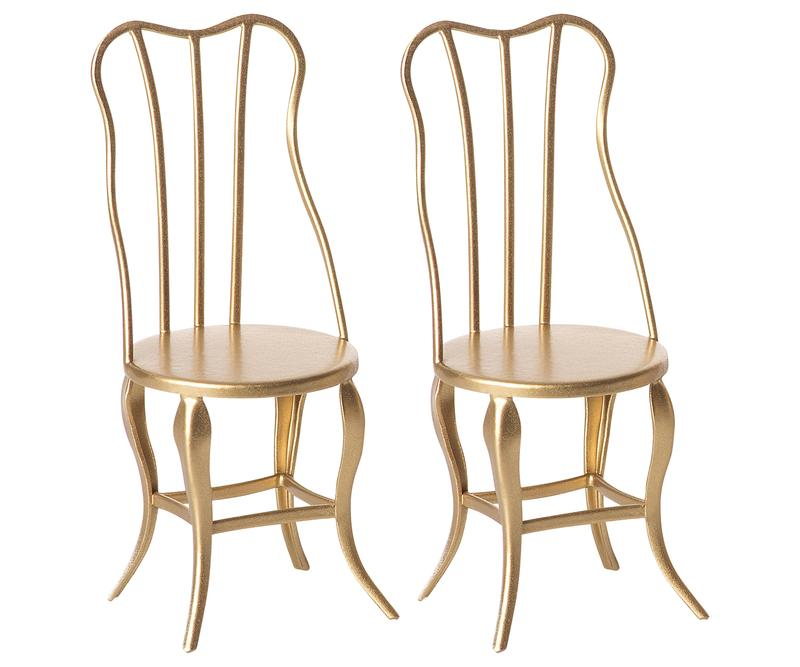 2 Gold Vintage Micro Chairs