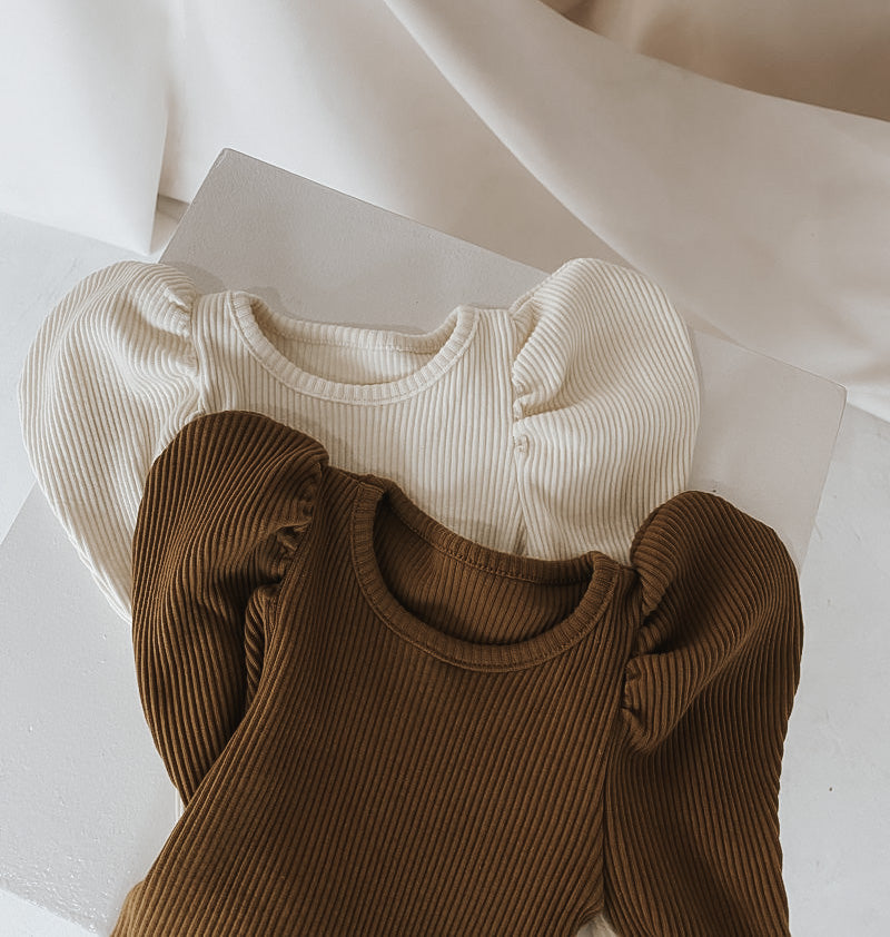 Ribbed Puff Tee Brown