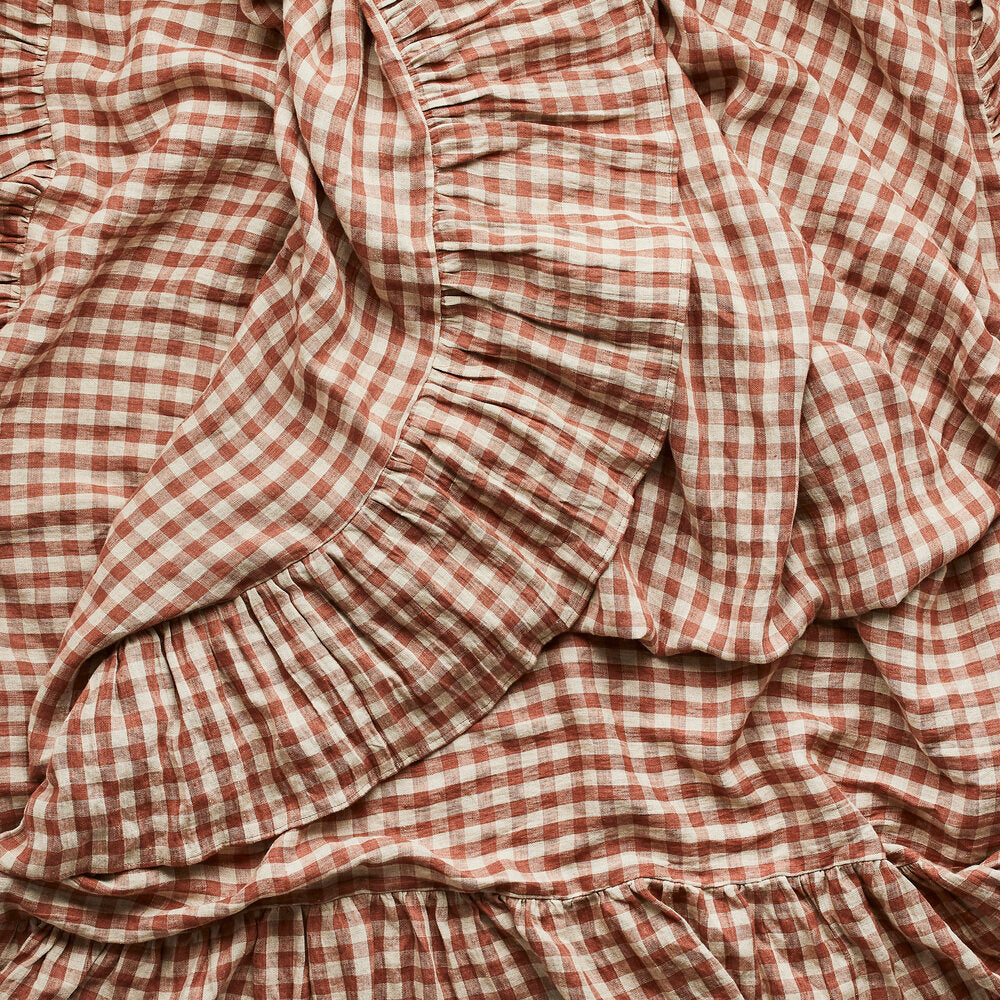 Gingham Frill Tablecloth Blush