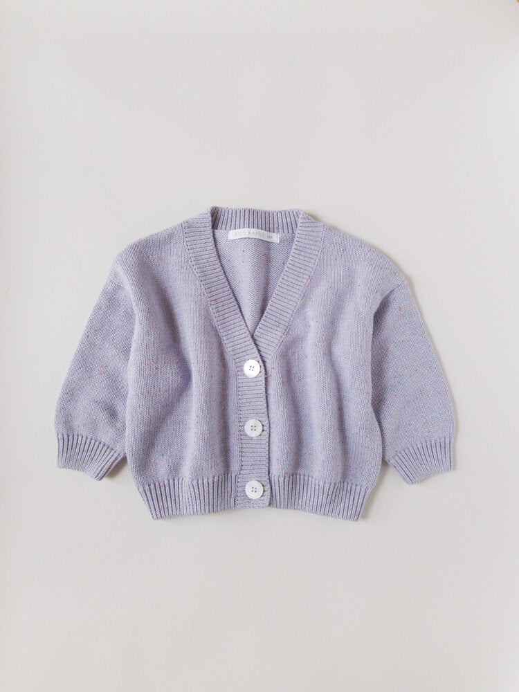 RAINBOW SPECKLE CARDIGAN | LAVENDER