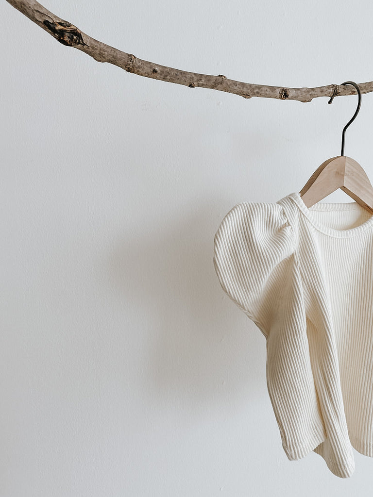 Ribbed Puff Tee Ivory