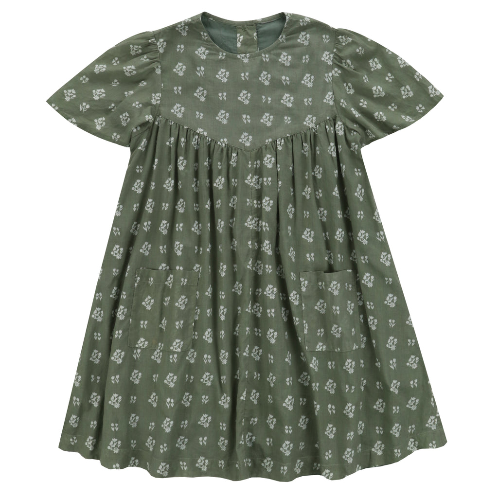 Mary Dress Sedum Green Floral