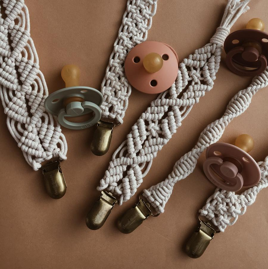 Macrame Pacifier Clip Woody